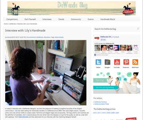 Screen-capture from DaWanda blog